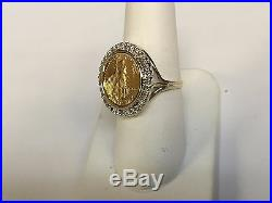 14K Gold 21 MM COIN RING with a 22K 1/10 OZ AMERICAN EAGLE COIN WITH. 25 TCW