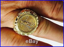 14K Gold 22 MM NUGGET COIN RING for a 1/10 OZ AMERICAN EAGLE COIN -Mount only