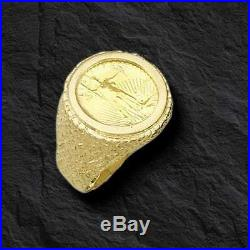 14K Gold Men's 25 MM NUGGET COIN RING with a 22 K 1/10 OZ AMERICAN EAGLE COIN
