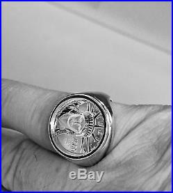 14K White Gold Mens 19.5 MM COIN RING with 1/10 OZ PLATINUM AMERICAN EAGLE COIN
