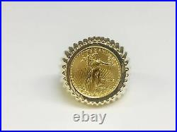 14K Yellow Gold Men's 21 MM COIN RING with a 22 K 1/0 OZ AMERICAN EAGLE COIN
