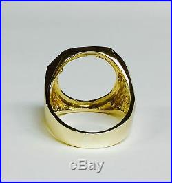 14K Yellow Gold Mens COIN RING for 1/10 OZ AMERICAN EAGLE COIN-Mounting only