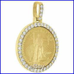 14K Yellow Gold Over American Eagle Liberty Coin Diamond Mounting Pendant