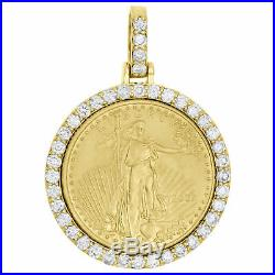 14K Yellow Gold Over American Eagle Liberty Coin Diamond Mounting Pendant 3 CT