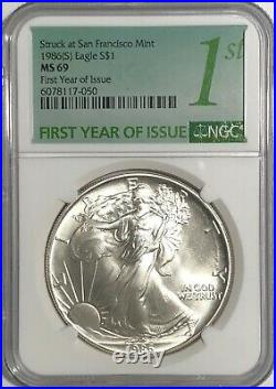 1986 (s) Ngc Ms69 $1 Silver Eagle 1 Oz First Year Issue Struck At San Francisco