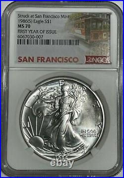 1986 (s) Ngc Ms70 $1 Silver Eagle 1 Oz First Year Issue Struck At San Francisco