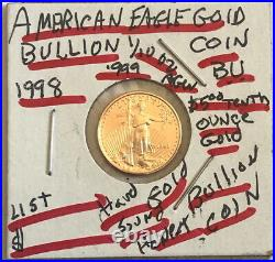 1998 Five Dollar American gold Eagle 1/10 oz gold USA coin-SELLING BELOW LISTrf