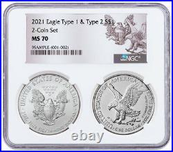 2 Coin Set 2021 American Silver Eagle Type 2 & Type 1 Type Set NGC MS70