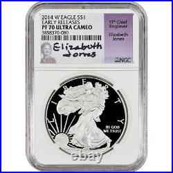 2014-W American Silver Eagle Proof NGC PF70 Early Releases Jones Signed