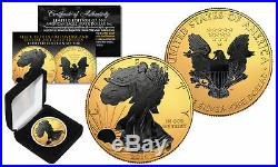 2018 1 oz. 999 Silver American Eagle US Coin 24K Gold Gilded with Black Ruthenium