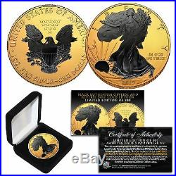 2019 1 oz. 999 Silver American Eagle US Coin 24K Gold Gilded with Black Ruthenium