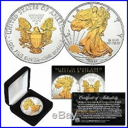 2019 American U. S. Silver Eagle 1 oz Coin 2-SIDED SELECT 24KT GOLD Gilded withBOX