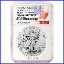 2019 Pride of Two Nations 2pc. Set U. S. Set NGC PF70 ER Flags Label WithOGP OGP742