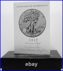 2019-S 19XE Enhanced Reverse Proof Silver Eagle with Blue Boxes & Numbered COA