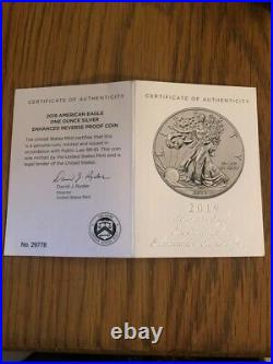 2019 S American Eagle One Ounce Silver Enhanced Reverse Proof Coin PF70 RARE