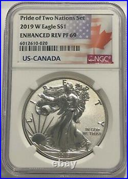 2019 W $1 Enhanced Reverse Proof Ngc Pf69 Silver Eagle Pride Of Two Nations