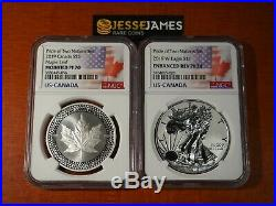 2019 W Enhanced Reverse Proof Silver Eagle & Maple Ngc Pf70 Pride Of Nations Set