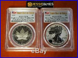 2019 W Silver Eagle Pcgs Pr70 70 Pride Of Two Nations Set First Day Of Issue Fdi