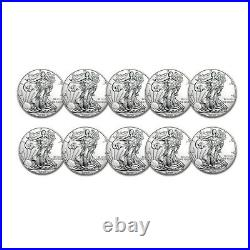 2020 1 oz American Silver Eagle BU Lot of 10 Coins $1 US Mint Silver