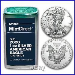 2020 1 oz Silver American Eagles (20-Coin MintDirect Tube) SKU#196104