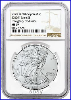 2020 (P) 1oz Silver American Eagle Struck at Philadelphia $1 Coin NGC MS69