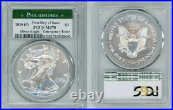 2020 P Silver American Eagle Emergency Pcgs Ms70 Philadelphia First Day Of Issue