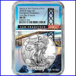 2020 (S) $1 American Silver Eagle NGC MS70 Emergency Production FDI San Francisc