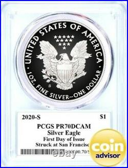 2020 S $1 Proof Silver Eagle PCGS PR70 First Day of Issue Mercanti Signature