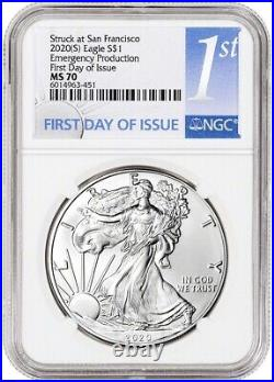 2020 (S) Silver Eagle NGC MS70 First Day of Issue Emergency Production