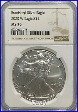 2020 W $1 Ngc Ms70 Burnished Silver American Eagle. 999 Fine Silver Brown Label