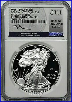 2020 W $1 Silver Eagle WWII V75 Privy NGC PF70 UCAM First Day of Issue Mercanti