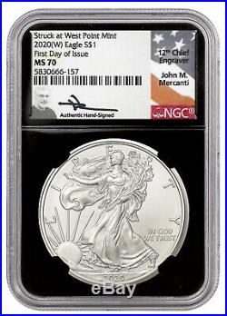 2020-(w) S$1 1oz American Silver Eagle Ngc Ms70 Fdi Mercanti Signed West Point