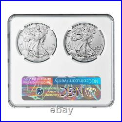 2021 $1 T1 and T2 Silver Eagle Set NGC MS69 First and Final Production 35th Anni