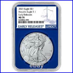 2021 $1 Type 1 American Silver Eagle 3pc Set NGC MS70 ER Blue Label Red White Bl