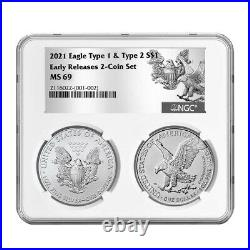 2021 $1 Type 1 and Type 2 Silver Eagle Set NGC MS69 ER T1 T2 Label