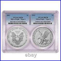 2021 $1 Type 1 and Type 2 Silver Eagle Set PCGS MS70 Blue Label