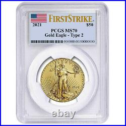 2021 $50 Type 2 American Gold Eagle 1 oz. PCGS MS70 FS Flag Label