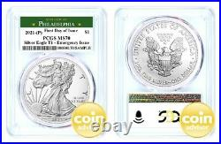2021 (P) $1 Silver Eagle Emergency Issue PCGS MS70 First Day of Issue