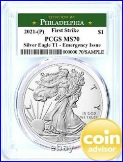 2021 (P) $1 Silver Eagle Emergency Issue PCGS MS70 First Strike