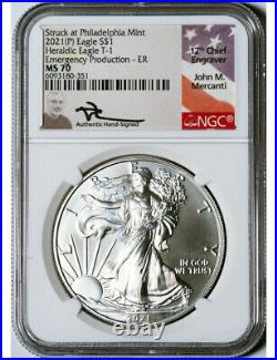2021-P Silver Eagle Heraldic T-1 Emergency Production ER NGC MS70 Mercanti