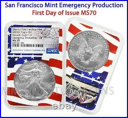 2021 (S) $1 American Silver Eagle NGC MS70 Emergency FDOI Flag Core IN HAND