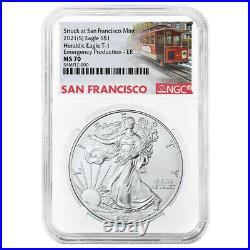2021 (S) $1 American Silver Eagle NGC MS70 Emergency Production Trolley ER Label