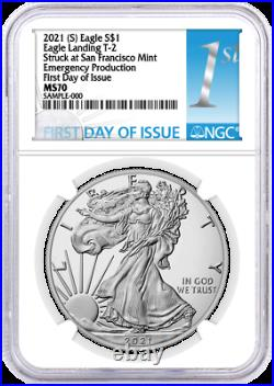 2021 (S) $1 Silver Eagle Type 2 Struck at SF Emergency Production NGC MS70 FDOI