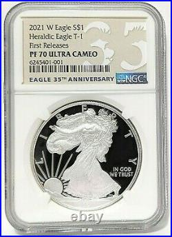 2021 W $1 American Proof Silver Eagle Type 1 Ngc Pf70 First Releases 35th Anniv