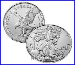 2021-W Burnished Uncirculated American Silver Eagle Type 2 Coin OGP/COA (21EGN)