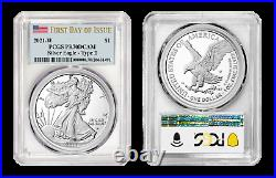 2021 W Proof Silver American Eagle Type 2 PCGS PR70 DCAM First Day of Issue