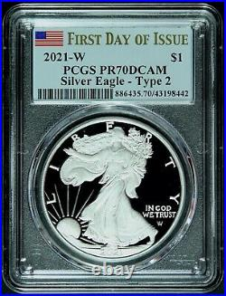 2021 W Type 2 American Silver Eagle PCGS PR70 DCAM First Day Landing Eagle