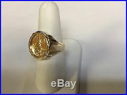 22 KT 1/10oz AMERICAN EAGLE COIN SET IN 14 KT SOLID YELLOW GOLD COIN RING