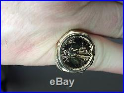 22K FINE GOLD 1/10 OZ AMERICAN EAGLE COIN in14k Yellow Gold Ring
