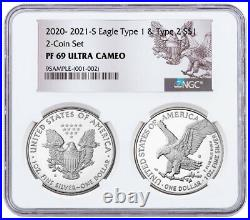 2pc 2021 S Proof American Silver Eagle Type 1 & Type 2 NGC PF69 UC Rev PRESALE
